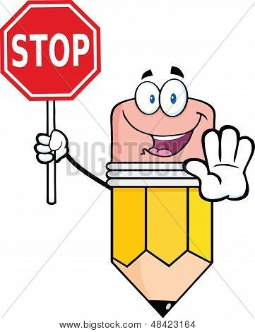 Pencil Cartoon Character Holding A Stop Sign