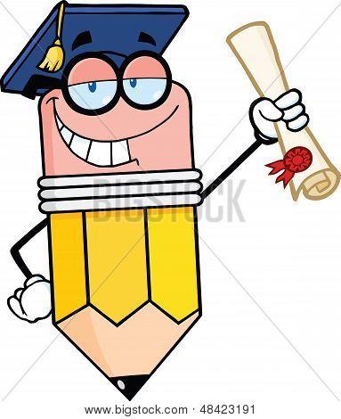 Happy Pencil Graduate Holding A Diploma