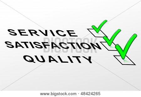 Qualidade de selo, satisfação, serviço
