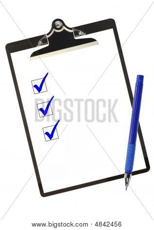 Lista de verificación en azul