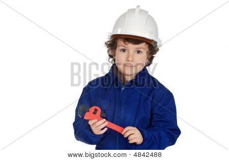 Adorable Boy Dressed Of Repairman