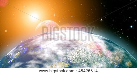 Risins Sun Over The Planet Earth