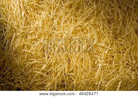 Yellow Packing Straw Material Lit Diagonally