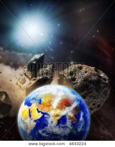 The Earth Set On A Dangerous Collision Orbit With Asteroids