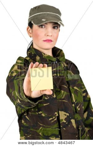 Army Soldier With Note