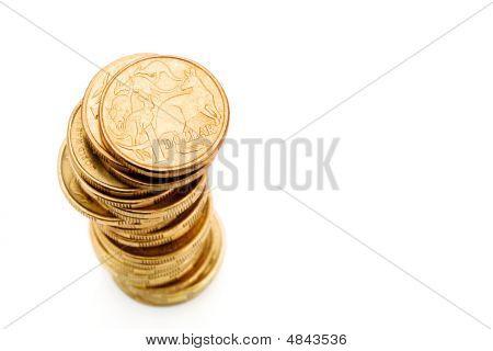 Stack Of Aussie One Dollar Coins
