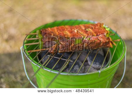 Brochettes On Barbecue