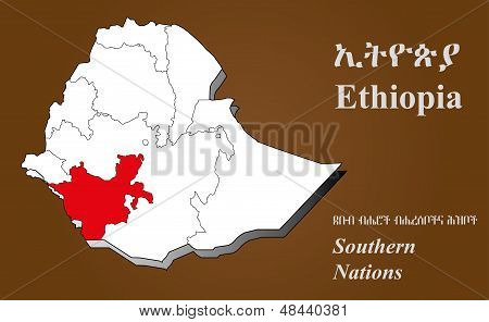 Ethiopia - Southern Nations Highlighted