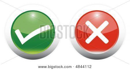 Tick und Kreuz Zeichen Web Buttons