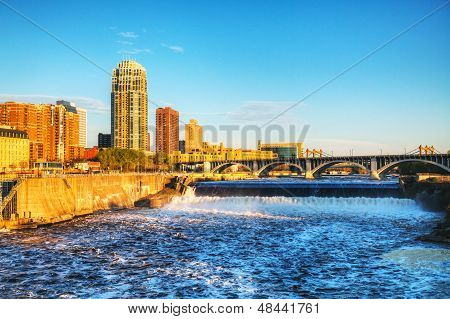 Downtown Minneapolis, Minnesota At Night Time And Saint Anthony Falls