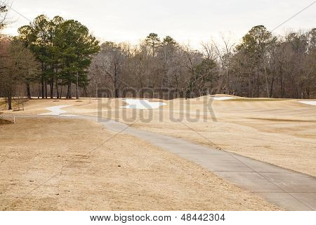 Sand Traps In Winter Golf Course