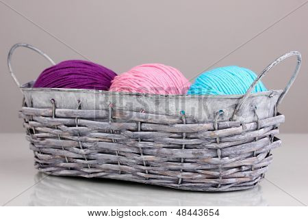 Bright threads for knitting in basket on grey background