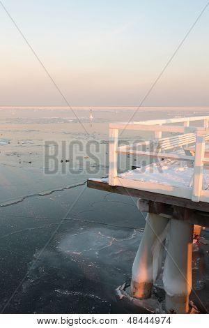 Pier, Jetty On The Sea - Ice - Floe. Poland, Gdynia