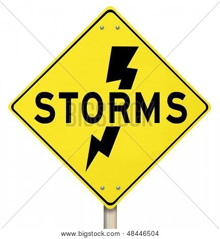 The word Storms on a yellow warning sign and a bolt of lightning icon to  illustrate dangerous thunderstorms