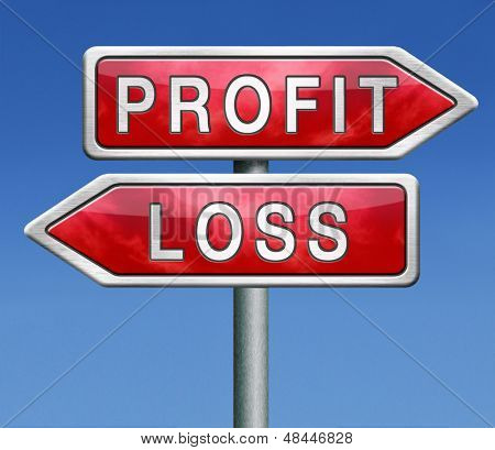 profit or loss win or loose financial on stock market economy earning or loosing money trough the risk of a risky investment