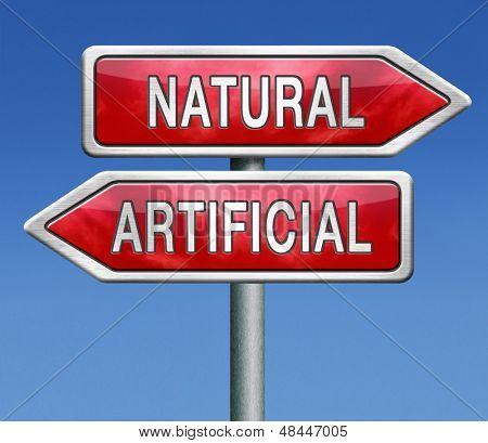natural or artificial man made product pure or fake