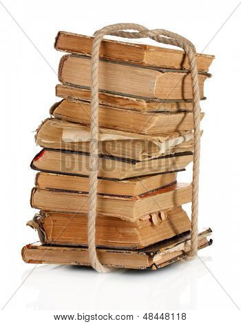 Old books are bound rope isolated on white