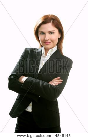 Businesswoman Portrait Isolated On White
