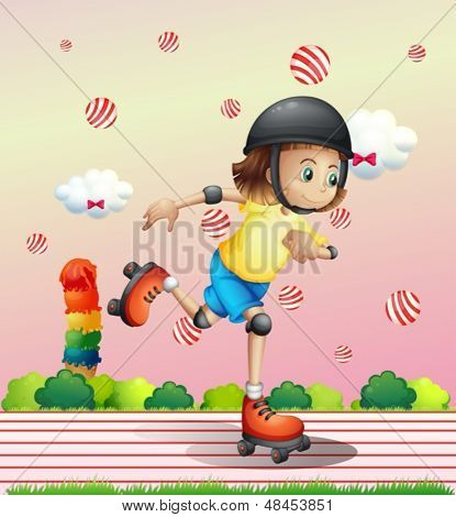 Illustration of a girl with a rollerskate
