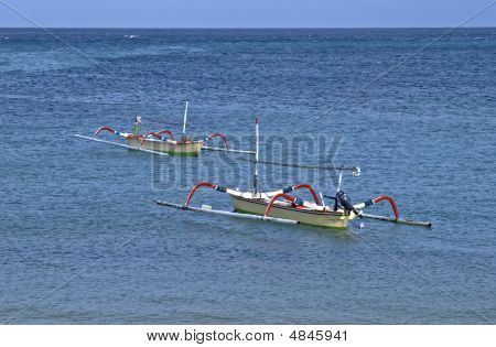 Indonesian Traditional Boats Near Coast