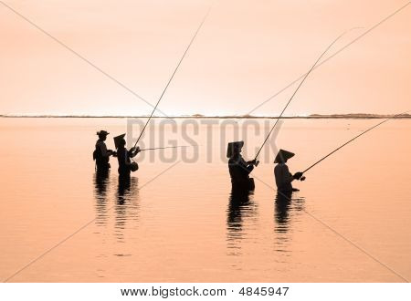 Fishermen In The Morning Sun,  Ocean Coast, Indonesia (2)