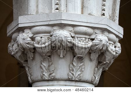 Venice - the unique beauty of the capitals of the columns of the Ducal Palace