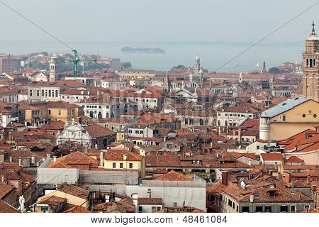 Aerial view of Venice city from the top of the bell tower at the San Marco Square Italy