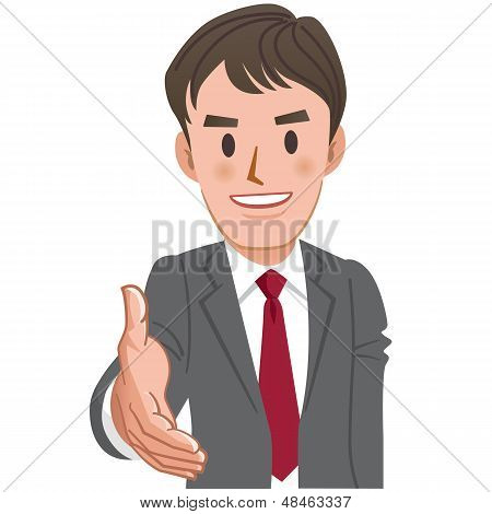 Cartoon Businessman Handshake