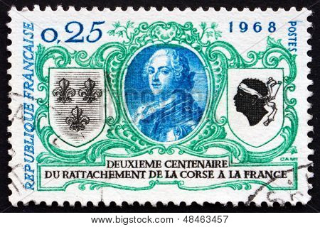 Postage Stamp France 1968 Louis Xv, King Of France