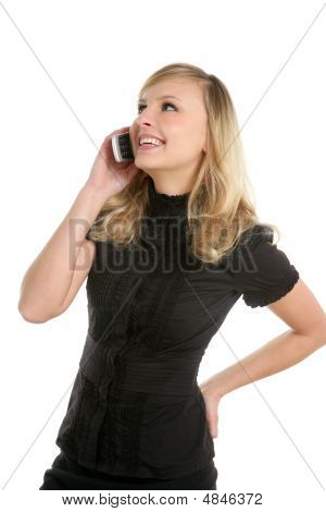 Blond Beautiful Woman Talking With Mobile Phone