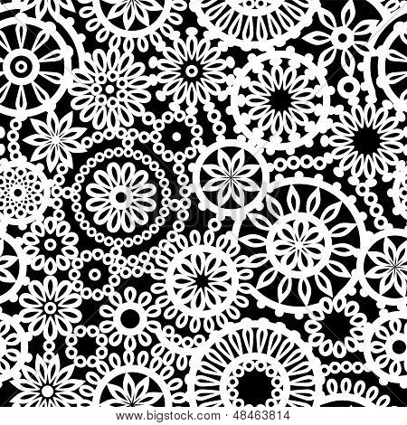 Black and white geometric crochet circle flowers seamless pattern, vector