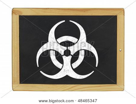 biohazard symbol on a blackboard  on a white background
