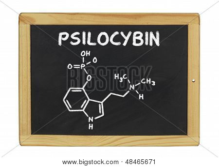 chemical formula of psilocybin on a blackboard