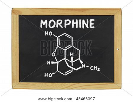 chemical formula of morphine on a blackboard