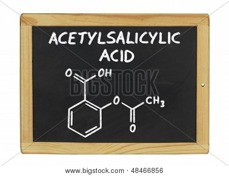 chemical formula of acetylsalicylic acid on a blackboard