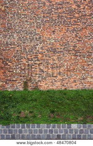 Old Rugged Brick Wall With Green Grass