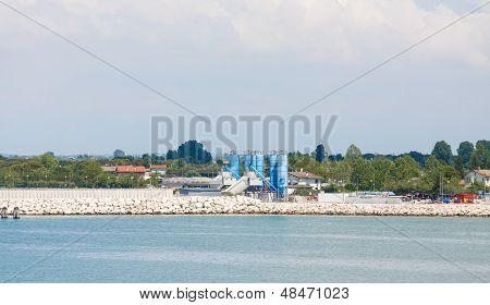 Blue Tanks On Venice Coast