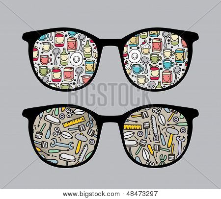 Retro sunglasses with tools reflection in it.