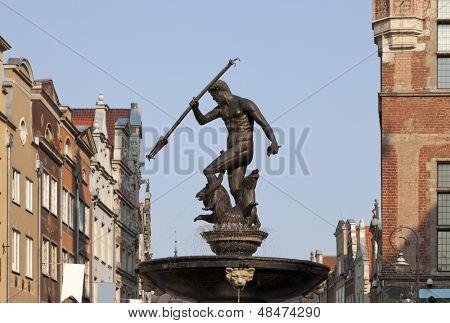 Neptun Brunnen in Gdansk, Polen