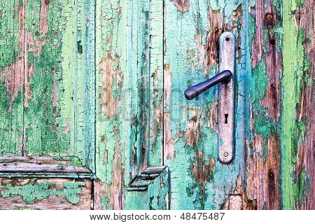 Handle On Old Wooden Door