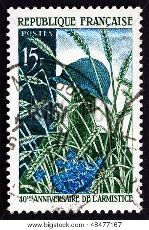 Postage Stamp France 1958 Soldier's Grave In Wheat Field