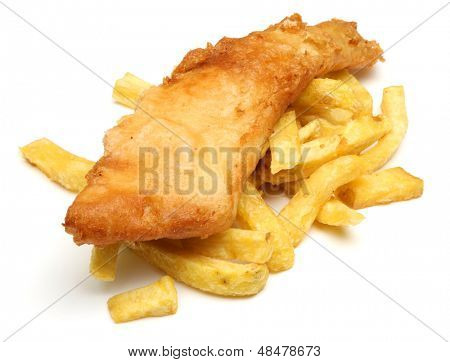 Fried fish on top of chunky chips.