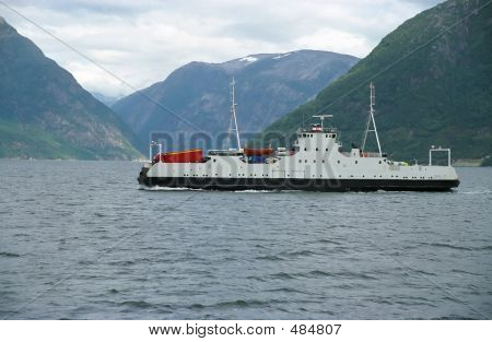 Ship-ferry In Fiord