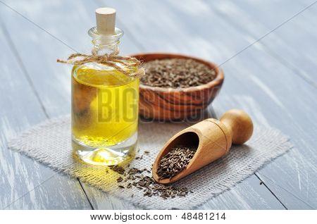 Cumin Oil In A Glass Bottle