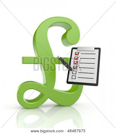 Pound sign with clipboard and pen