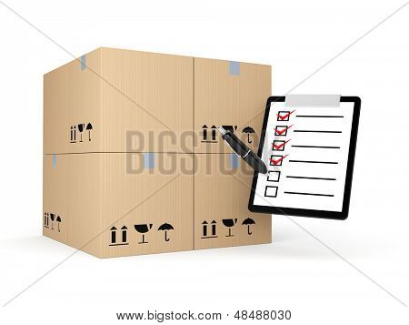 Boxes with clipboard. Delivery metaphor