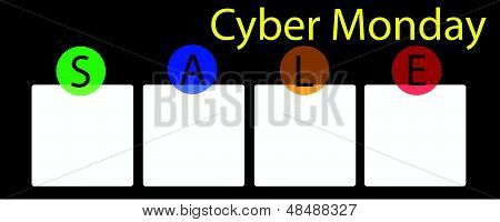 A Cyber Monday Banner With Square Label