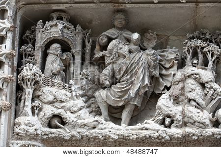 Amboise - Detail of Late Gothic carving on the Chapel of Saint-Hubert