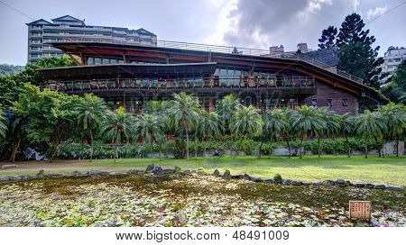 The eco friendly Beitou Library building in Taipei, Taiwan.