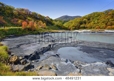 Natural springs of Oyunuma Lake in Hell Valley, Noboribetsu, Hokkaido, Japan.